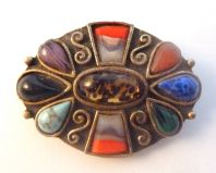 Celtic Style Faux Agate Brooch Attributed To Miracle.